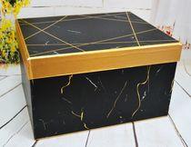 """Коробка черная """"Мрамор"""" средняя"""
