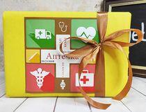 """Коробка """"Аптечка"""" в желтой бумаге, разные размеры"""