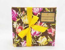 Коробка коричневая Цветы - размер подбирается под наполнение