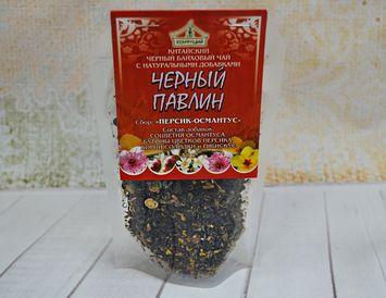черный чай, соцветия османтуса, цветы персика, корни солодки и гибискуса