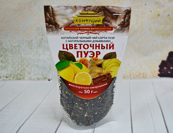 Чай чёрный ПУЭР с корицей, имбирем и лимонои