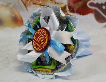 """Новогодний подарок букет-мини из чая и кофе """"Снежинка"""""""
