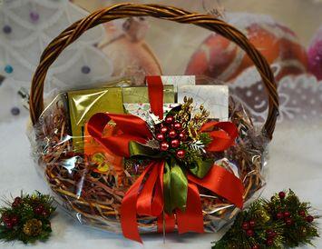 """Подарочная Корзина на Новый год """"Новогоднее настроение"""" с чаем и кофе"""