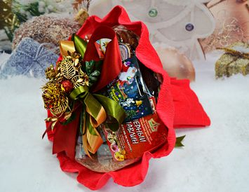 Подарок на Новый год букет из чая и кофе Новогодний