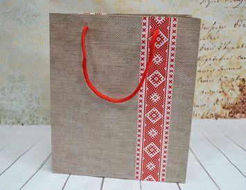 Пакет подарочный Красные узоры 23 ? 27 ? 8 см