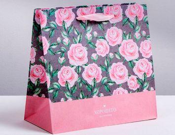 Пакет подарочный Розы 22х22х11