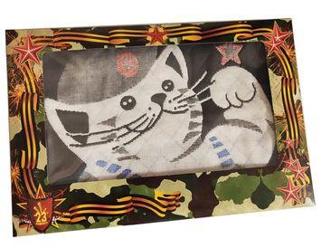 """Подарочное полотенце на 23 февраля """"Кот в тельняшке"""""""
