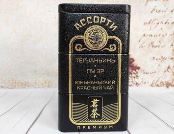 """Подарочный чай """"Black & Gold"""" 3 сорта 90 г."""