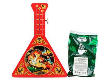 """Подарочный чай в музыкальной шкатулке  """"Балалайка"""" красная 50 г."""