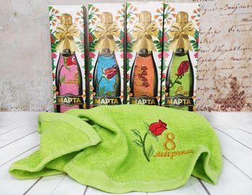 """Подарок на 8 марта полотенце """"в бутылке"""""""