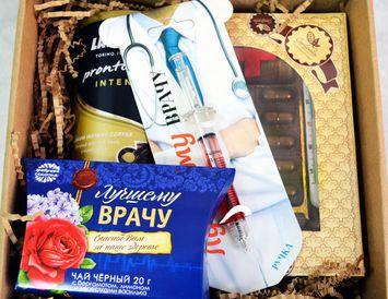 """Подарок врачу """"С благодарностью"""" из чая и кофе"""