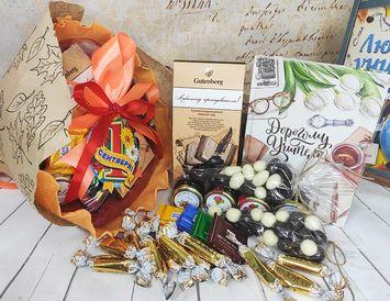 Букет из конфет на 1 сентября с ежедневником для учителя