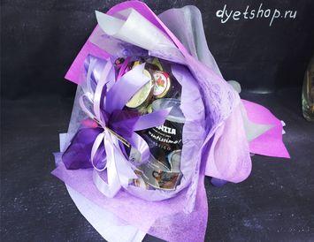 Букет из чая, кофе и конфет с сухоцветами
