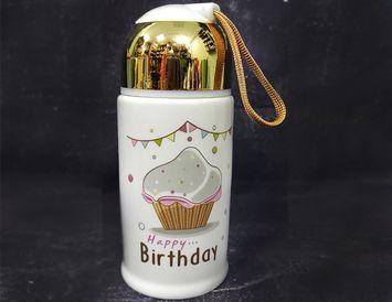 Кружка керамическая с винтовой крышкой С днем рождения
