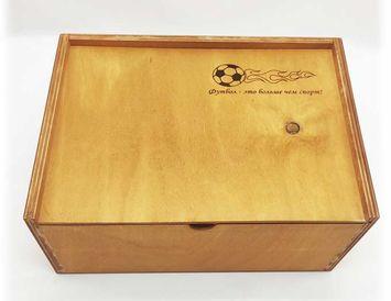 """Деревянныая подарочная коробка """"Футбол"""""""