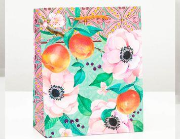 Пакет подарочный Цветы-2 18х22х10 см.