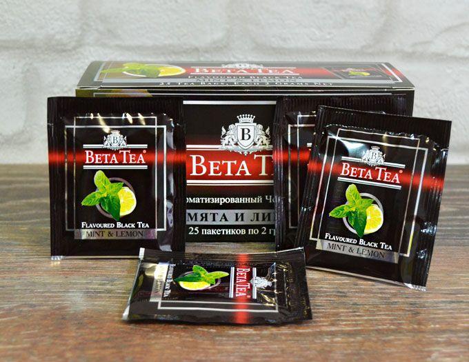 Пакетированный черный Бета чай Мята и липа