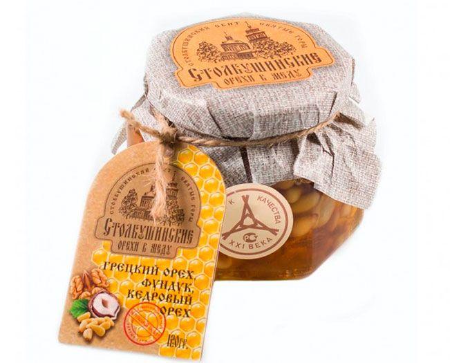Грецкий, фундук и кедровые орехи в меду 130 гр.