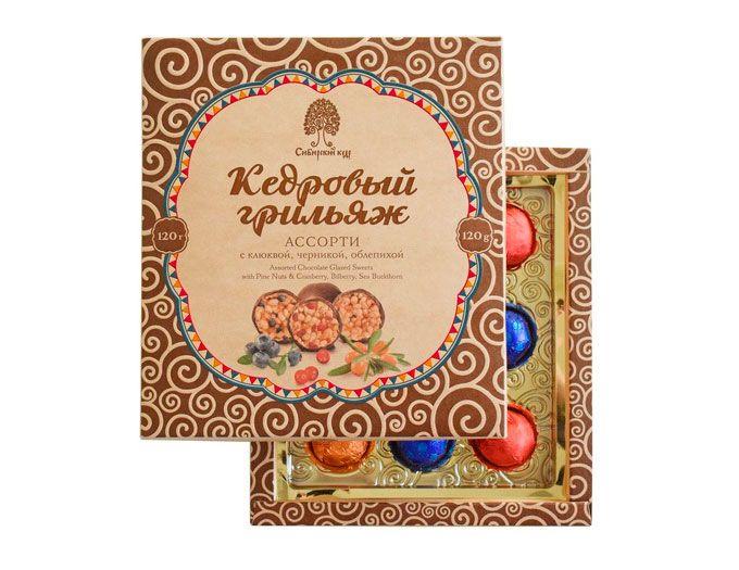 Кедровый грильяж в шоколаде ассорти  120 г. (клюква, черника, облепиха)
