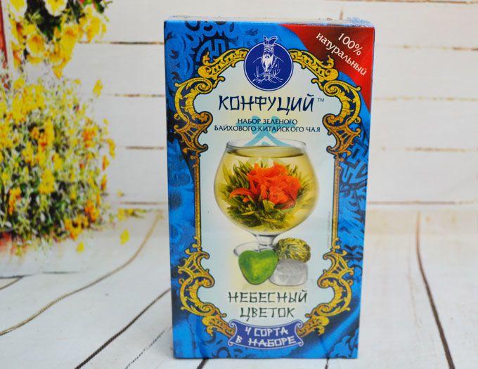"""Подарочный набор из 4 видов чая """"Небесный цветок"""" 80 г."""