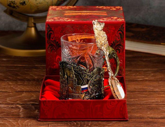 """Подарок на юбилей Подстаканник """"С Юбилеем"""" со стаканом и ложкой"""